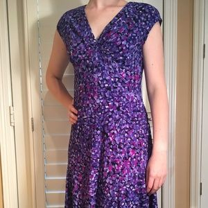 Chaps Blue/Purple Dress with Cap Sleeves